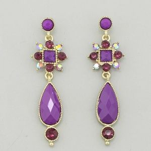 Jewelry - Purple Crystal Drop Earrings
